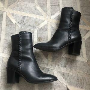 Frye Black Giovanna Thread Short heel ankle boots